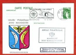 MANDEURE 25 Doubs Abeille Oblitération Mécanique 1er Jour De La Flamme 1981 Blason De La Ville Entier Sabine - Bienen