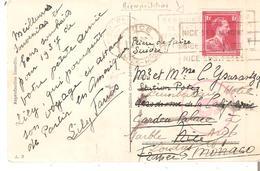 """N° 428 ANTWERPEN S/CP. Vers NICE - 2 Réexpéditions (MONACO-LONDRES) Marque Rouge """"6"""" TB - Belgien"""