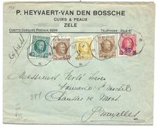 L Exprès Affr N°194+203 X2 +205+247octog ZELE/***/1928 Pour Bruxelles - 1922-1927 Houyoux