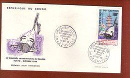 1 Enveloppe Premier Jour Cancer Tokyo Brazzaville Congo - FDC