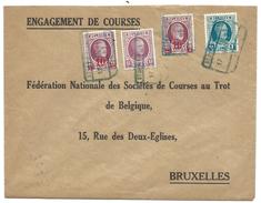 L Exprès Affr N°195+208+246 X2 Rectang Bleu ST DENIS BOVESSE1929 Pour Bruxelles - 1922-1927 Houyoux