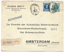 L Recom Affr N°206+208 Oval BRUXELLES/1929 Pour Amsterdam - 1922-1927 Houyoux