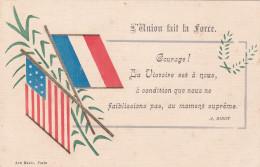 """Carte Patriotique """"L'Union Fait La Force"""" - Drapeaux Français Et Américain - Patrióticos"""