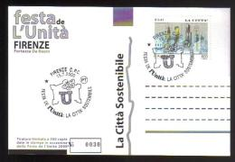 2000 - Firenze - Festa Dell´Unità - Annullo Speciale Su Cartolina Numerata - 6. 1946-.. Repubblica