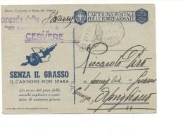 1480) Franchigia CARABINIERI REALI STAZIONE CERVERE CUNEO 1942  2^ Ww - Franchigia