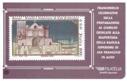 TESSERA FILATELICA - ITALIA - ANNO 1999 - PREPARAZIONE AL GIUBILEO - DEDICATO ALLA BASILICA DI S FRANCESCO D'ASSISI - - 6. 1946-.. Repubblica