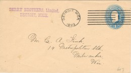 20071. Carta DETROIT (michigan) 1893 To Milwaukee