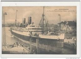 SAINT NAZAIRE LE  PAQUEBOT TRANSATLANTIQUE ESPAGNE QUITTE LE PORT CPA BON ETAT - Dampfer
