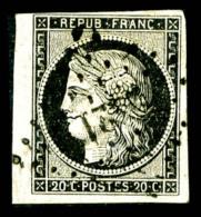 N°3a, 20c Noir Sur Blanc Obl PC. Petit Bord De Feuille. SUP (signé Calves/certificats)   Qualité: O   Cote: 700 Euros - 1849-1850 Cérès