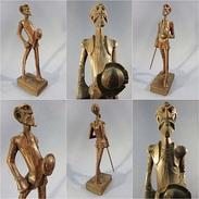 * STATUE DON QUICHOTTE EN BOIS SCULPTE # Cervantes Livre Roman Littérature Souvenir Espagne Sculpture - Bois