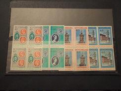 SEYCHELLES - 1978 INCORONAZIONE  4 VALORI, In Quartine (blocks Of Four) - NUOVI(++) - Seychelles (1976-...)