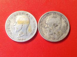 Münzen Schweden Sverige Silber 1 Krona 1876 Oscar II. 1 Krona 1924 Gustaf - Schweden
