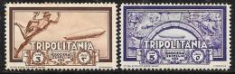 Tripolitania, Scott # C21-2 Mint Hinged Mercury,  Arch, 1933 - Tripolitania