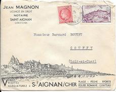 LF 874  Lettre Illustée De St Aignan Sur Cher De 1947 Timbres N°676 Et 759 - 1921-1960: Moderne