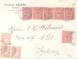 NOUMEA NOUVELLE CALEDONIE ENVELOPPE CIRCULEE A E.C. BELMONTE A SYDNEY AUSTRALIA WITH 8 STAMPS TWO COLOUR FRANKING - Nieuw-Caledonië