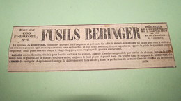 FUSILS BERINGER - ANNONCE PUBLICITAIRE DE 1843 ( JOURNAL DES DEBATS ). - Publicités