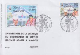 Enveloppe  FDC  1er  Jour    MAYOTTE   Groupement  Du   Service   Militaire  Adapté   2001