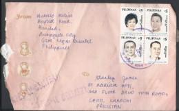 Philippines Airmail 2000 Elpidio Rivera Quirino Block Of 4 Special Delivery Postal History Cover - Filipinas