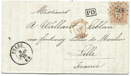 L Datée De Calfort Affr N°33 Lpts 300 PUERS/1873 Pour Lille. Sup - 1869-1883 Leopold II