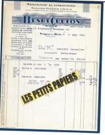 08 - Ardennes - VRIGNE-AUX-BOIS - Facture CRETON - Manufacture De Ferronnerie – 1934 - REF 246 - France