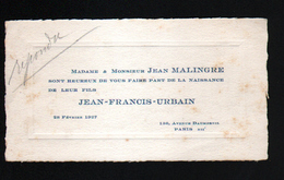 75, FAIRE PART DE NAISSANCE, FAMILLE MALINGRE, PARIS - Geboorte & Doop