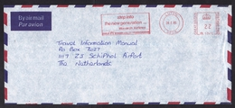 UK: Airmail Cover Luton To Netherlands, 1985, Meter Cancel Monarch Airlines, Slogan, Rare (traces Of Use) - 1952-.... (Elizabeth II)