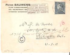 """TP. 430 ANTWERPEN 20/12/1940 S/L. Par Voie Maritime V/Washington. Marques """"C"""" Et """"78"""". CENSUREE? Arr. 10 MARS!! - 1936-1951 Poortman"""