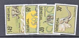 WILDLIFE- SENEGAL - 1993- AFRICAN ELEPHANTS SET OF 4 MINT NEVER HINGED - Olifanten