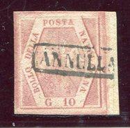 1858-NAPOLI - 10 GR.CARTA SOTTILE-1 VAL. USATO.LUXE !! - Naples