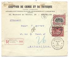 L Recom Affr N°144+185 (JO) De BRUXELLES/1921 Pour Ev - 1915-1920 Albert I