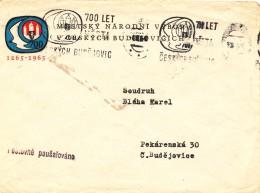 L1198 - Czechoslovakia (1965) Ceske Budejovice: 700 Years City Ceske Budejovice (logo); Letter (logo) - Tschechoslowakei/CSSR