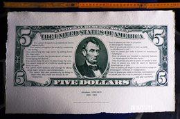 1 SPÉCIMEN VRAIE FAUSSE MONNAIE ABRAHAM LINCOLN ETATS UNIS AMERIQUE FIVE DOLLARS PAPIER RICHARD DE BAS FICTIF DOCUMENT - Fictifs & Spécimens
