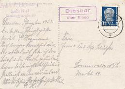 DIESBAR über Riesa  - 1959 , AK Nach Sonnewalde / Lausitz , Landpoststempel , Postnebenstempel - DDR