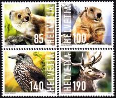 SWITZERLAND 2014, FAUNA, WILD ANIMALS, COMPLETE, MNH SET, GOOD QUALITY,*** - Ongebruikt