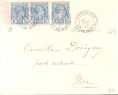 MONTE-CARLO MONACO AN 1890 A CAMILLE DERIGNY POSTE RESTANTE A NICE CON RARO BORDE DE HOJA HIGH FRANKING AVEC 3 CERTIFICA - Briefe U. Dokumente