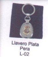 L-02. Llavero Plata Pera Con Bolsita De Antelita CNP - Llaveros