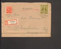 Alli.Bes. Einschreibe-Fernbrief Mit Ziffer 1 Reichsmark U.8 Pfg.aus Duisburg 1v.2.9.46 M.Ankunftstempel - Gemeinschaftsausgaben