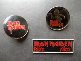 """- Lot De 3 Anciens Badges """"IRON MAIDEN"""" Année 80 - - Musik"""