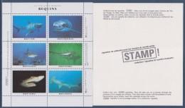 """= Vie Sous-Marine Requins: Tigre, De Récifs, Nourrice, Taureau, Marteau, Blanc Bloc 6 Vignettes Gommées Neuves """"STAMP - Cinderellas"""