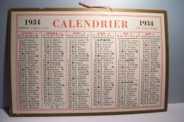 CALENDRIER  - CARTON -1934 - Tamaño Pequeño : 1921-40