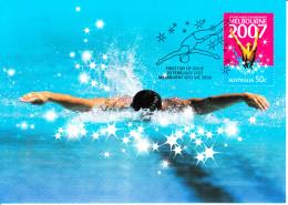 Australia 2007 Maxicard Scott #2625 50c Swimmer - 12th FINA World Championships - Maximumkarten (MC)