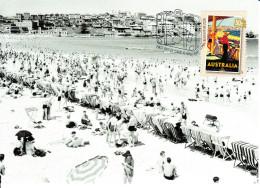 Australia 2007 Maxicard Scott #2666 50c At The Beach - 1930s Travel Posters - Maximumkarten (MC)