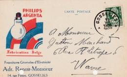 Gosselies ,carte Publicitaire , Adr.Renoir=Monsieur ;électricité Générale,  Philips Argenta,fabrication Belge ,ampoule - Charleroi