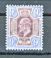 UK Edward VII 1902 N. 115 - 9 Penny Razzurro E Viola MLH Cat. € 180 - 1902-1951 (Re)