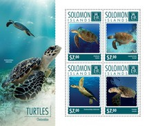 SOLOMON ISLANDS SHEET. TURTLES. TORTUGAS. LES TORTUES. 2014. PERFORADO NUEVO. - Solomon Islands (1978-...)