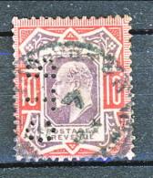 UK Edward VII 1902 N. 116 - 10 Penny Rosso E Bruno PERFIN Usato Cat. € 40 - 1902-1951 (Re)