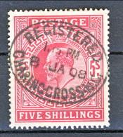 UK Edward VII 1902 N. 119 - 5 Scellini Carminio Usato Cat. € 110 - 1902-1951 (Re)