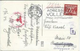Netherlands Arnhem Station 1942  - Perfin-Perforé-Perfins-Perforés Stamp,censorship - Period 1891-1948 (Wilhelmina)