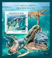 NIGER 2016 - Prehistoric Water Animals S/S. Official Issue - Prehistorisch