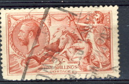 UK Giorgio V 1913 N. 154 S. 5 Rosso Fondo A Linee Orizzontali Usato Catalogo € 300 - 1902-1951 (Re)